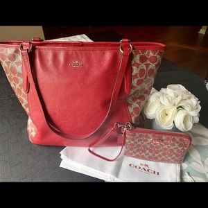 Coach leather tote and wristlet wallet